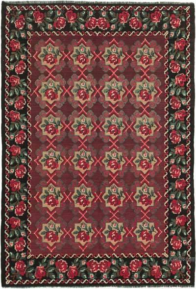"Vintage Handwoven Moldovan Kilim Area Rug - 4' 11"" x 7' 1"" (59 in. x 85 in.)"