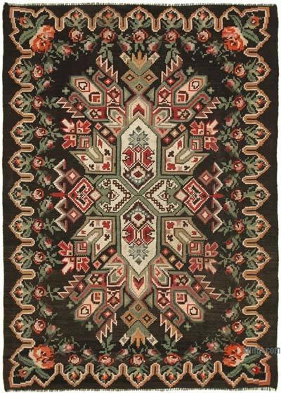 "Vintage Handwoven Moldovan Kilim Area Rug - 4' 11"" x 6' 11"" (59 in. x 83 in.)"