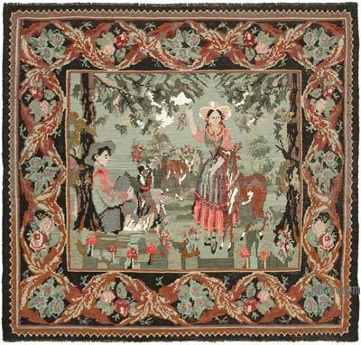 Vintage Moldova Kilimi - 214 cm x 196 cm