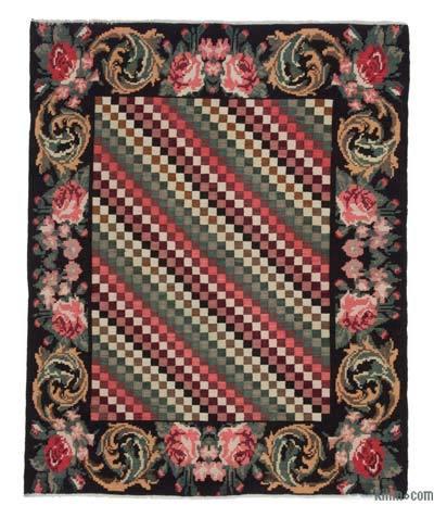 "Vintage Handwoven Moldovan Kilim Area Rug - 4'11"" x 6'1"" (59 in. x 73 in.)"