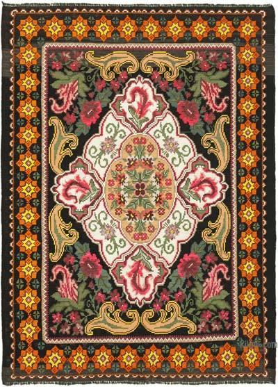 "Vintage Handwoven Moldovan Kilim Area Rug - 5' 4"" x 7' 3"" (64 in. x 87 in.)"