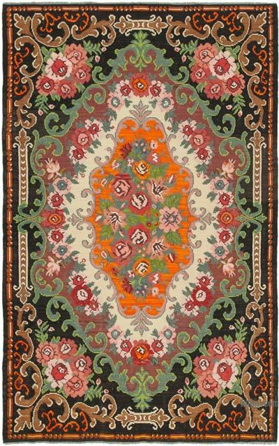 "Vintage Handwoven Moldovan Kilim Area Rug - 6'11"" x 10'6"" (83 in. x 126 in.)"