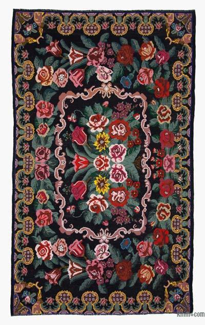 "Vintage Handwoven Moldovan Kilim Area Rug - 7' 8"" x 12' 8"" (92 in. x 152 in.)"