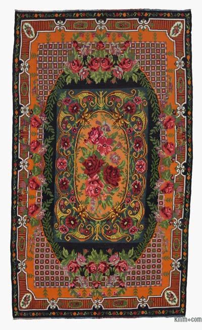 "Vintage Handwoven Moldovan Kilim Area Rug - 6' 5"" x 11' 1"" (77 in. x 133 in.)"