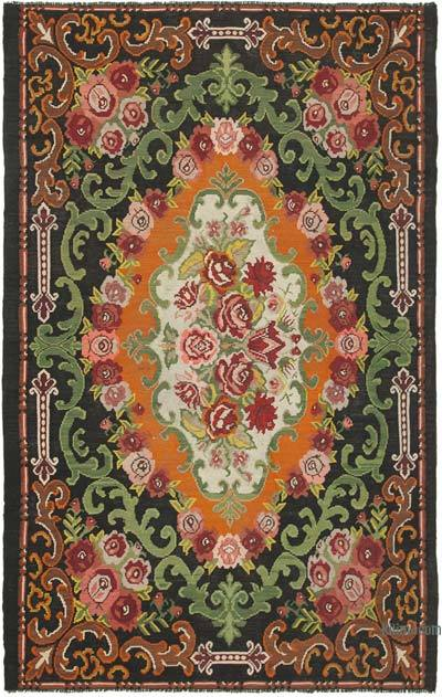"Vintage Handwoven Moldovan Kilim Area Rug - 6' 9"" x 10' 10"" (81 in. x 130 in.)"