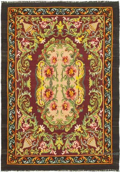 "Vintage Handwoven Moldovan Kilim Area Rug - 5'1"" x 7'1"" (61 in. x 85 in.)"