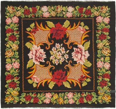 "Vintage Handwoven Moldovan Kilim Area Rug - 6'1"" x 6'5"" (73 in. x 77 in.)"