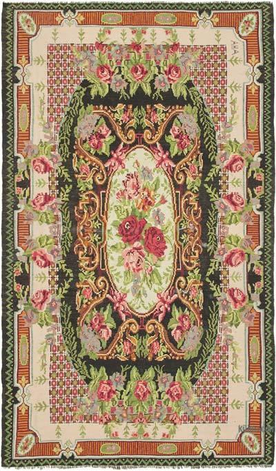 """Multicolor Vintage Handwoven Moldovan Kilim Area Rug - 7'  x 11' 8"""" (84 in. x 140 in.)"""