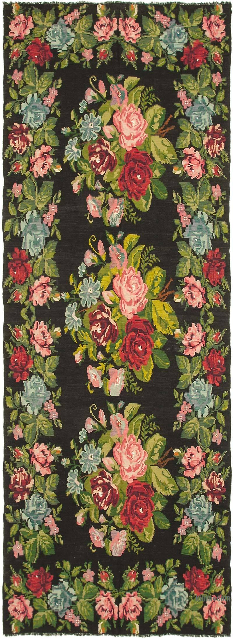 Multicolor Vintage Handwoven Moldovan Kilim Area Rug - 6' 4# x 17' 7# (76 in. x 211 in.) - K0039049