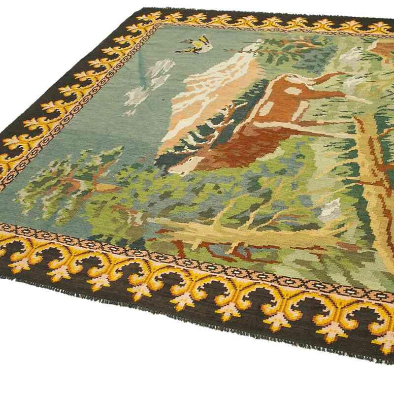 """Multicolor Vintage Handwoven Moldovan Kilim Area Rug - 6' 11"""" x 7' 1"""" (83 in. x 85 in.) - K0039053"""