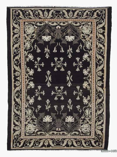 "Vintage Handwoven Moldovan Kilim Area Rug - 5'2"" x 7'1"" (62 in. x 85 in.)"