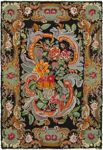 "Vintage Handwoven Moldovan Kilim Area Rug - 7' 7"" x 11'  (91 in. x 132 in.)"