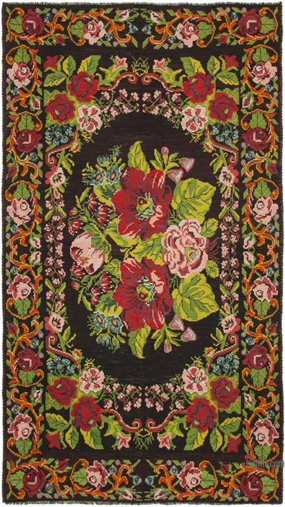 "Vintage Handwoven Moldovan Kilim Area Rug - 7'1"" x 12'6"" (85 in. x 150 in.)"