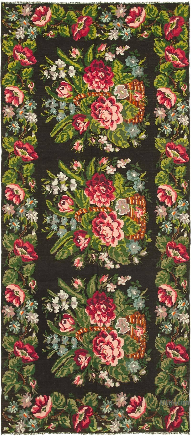 """Multicolor Vintage Handwoven Moldovan Kilim Area Rug - 6' 6"""" x 14' 6"""" (78 in. x 174 in.) - K0039059"""
