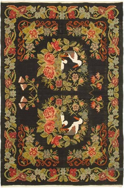 "Vintage Handwoven Moldovan Kilim Area Rug - 6'4"" x 9'7"" (76 in. x 115 in.)"