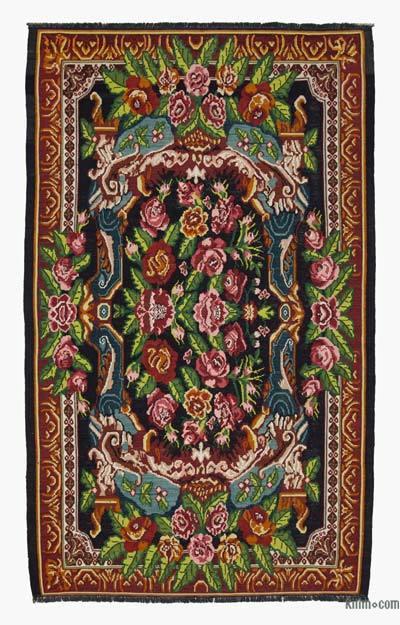 "Vintage Handwoven Moldovan Kilim Area Rug - 6'9"" x 11'6"" (81 in. x 138 in.)"