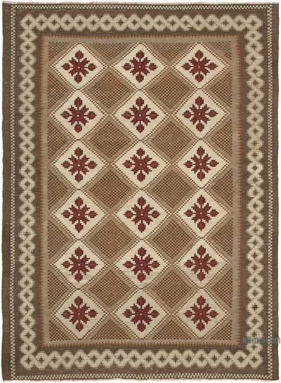 "Vintage Handwoven Moldovan Kilim Area Rug - 6' 9"" x 9' 2"" (81 in. x 110 in.)"