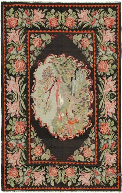 "Vintage Handwoven Moldovan Kilim Area Rug - 7'1"" x 11'1"" (85 in. x 133 in.)"