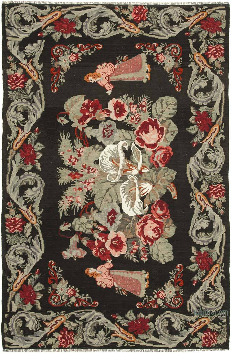 """Multicolor Vintage Handwoven Moldovan Kilim Area Rug - 6' 4"""" x 9' 7"""" (76 in. x 115 in.) - K0039068"""