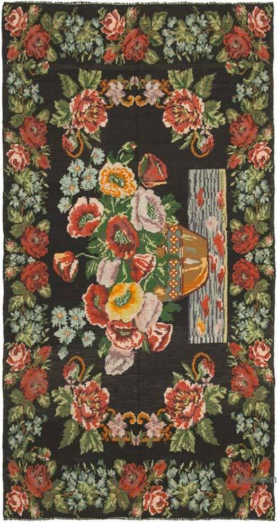 "Vintage Handwoven Moldovan Kilim Area Rug - 7'10"" x 14'5"" (94 in. x 173 in.)"