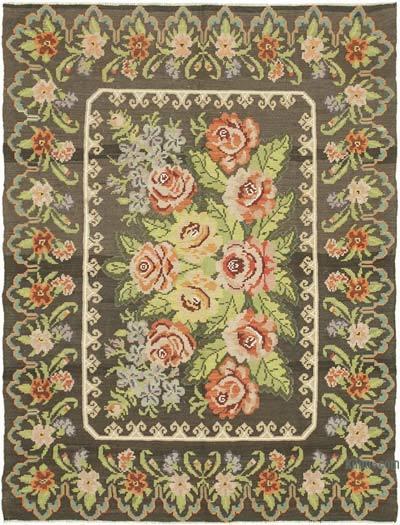 "Vintage Handwoven Moldovan Kilim Area Rug - 6' 2"" x 8' 2"" (74 in. x 98 in.)"