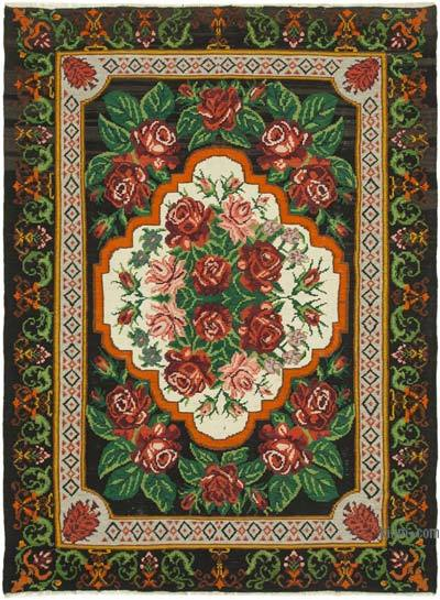 "Vintage Handwoven Moldovan Kilim Area Rug - 7' 6"" x 10' 2"" (90 in. x 122 in.)"