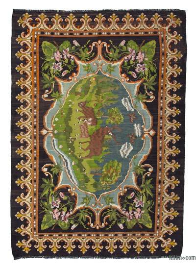 "Vintage Handwoven Moldovan Kilim Area Rug - 5' 11"" x 8' 6"" (71 in. x 102 in.)"