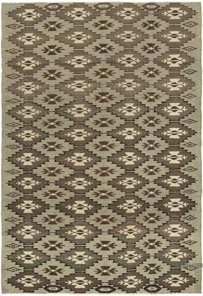 "Vintage Handwoven Moldovan Kilim Area Rug - 7'1"" x 10'4"" (85 in. x 124 in.)"