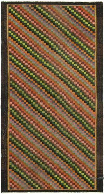 """Multicolor Vintage Handwoven Moldovan Kilim Area Rug - 6' 10"""" x 12' 7"""" (82 in. x 151 in.)"""