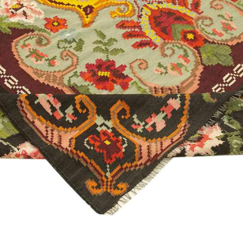 """Multicolor Vintage Handwoven Moldovan Kilim Area Rug - 6' 5"""" x 9' 3"""" (77 in. x 111 in.) - K0039084"""