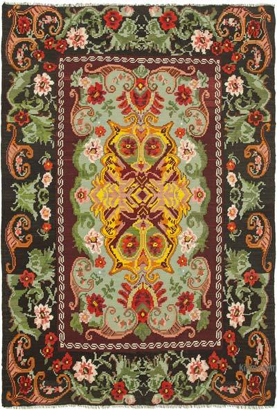"Vintage Handwoven Moldovan Kilim Area Rug - 6'5"" x 9'3"" (77 in. x 111 in.)"