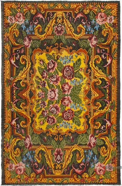 "Vintage Handwoven Moldovan Kilim Area Rug - 7'8"" x 11'11"" (92 in. x 143 in.)"