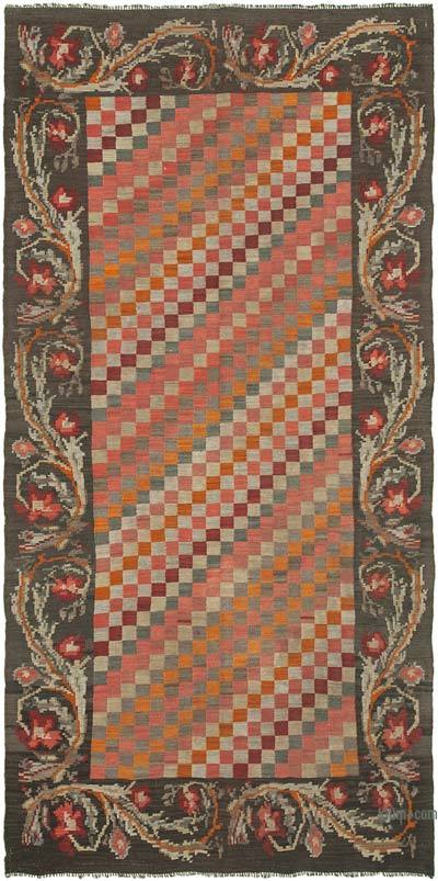 "Vintage Handwoven Moldovan Kilim Area Rug - 5'3"" x 10' (63 in. x 120 in.)"