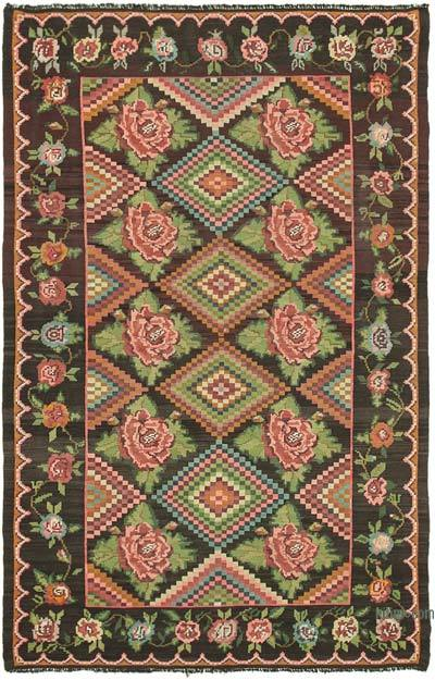 "Vintage Handwoven Moldovan Kilim Area Rug - 6' 4"" x 9' 6"" (76 in. x 114 in.)"