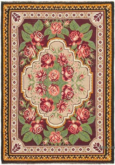 "Vintage Handwoven Moldovan Kilim Area Rug - 6' 4"" x 8' 10"" (76 in. x 106 in.)"