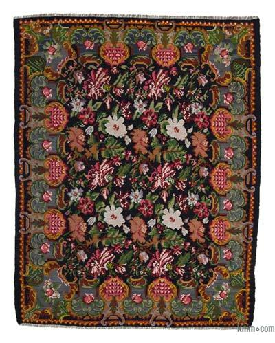 "Vintage Handwoven Moldovan Kilim Area Rug - 7' 1"" x 9' 1"" (85 in. x 109 in.)"
