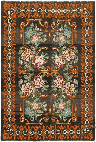 "Vintage Handwoven Moldovan Kilim Area Rug - 5' 8"" x 8' 1"" (68 in. x 97 in.)"