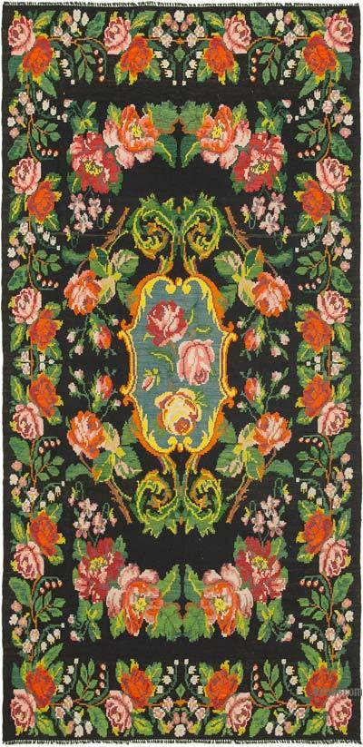 "Vintage Handwoven Moldovan Kilim Area Rug - 6'7"" x 13'3"" (79 in. x 159 in.)"