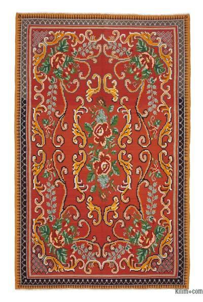 "Vintage Handwoven Moldovan Kilim Area Rug - 6'  x 9' 6"" (72 in. x 114 in.)"