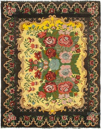 "Vintage Handwoven Moldovan Kilim Area Rug - 6' 7"" x 8' 1"" (79 in. x 97 in.)"
