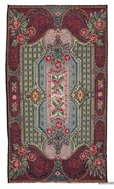 "Vintage Handwoven Moldovan Kilim Area Rug - 7' x 12'4"" (84 in. x 148 in.)"