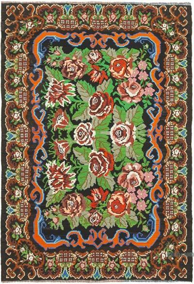 "Vintage Handwoven Moldovan Kilim Area Rug - 6' 6"" x 9'  (78 in. x 108 in.)"