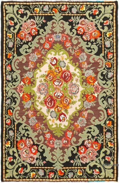 "Vintage Handwoven Moldovan Kilim Area Rug - 6' 7"" x 10'  (79 in. x 120 in.)"