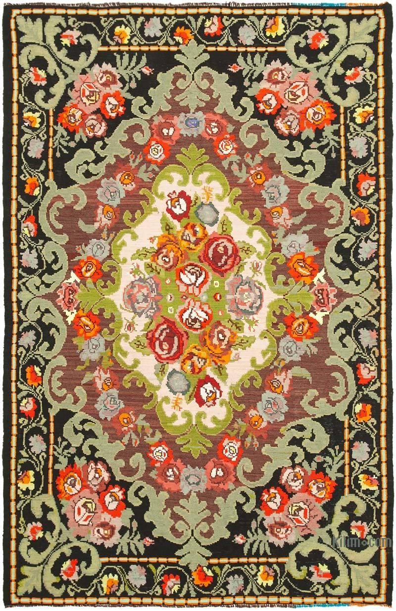 """Multicolor Vintage Handwoven Moldovan Kilim Area Rug - 6' 7"""" x 10'  (79 in. x 120 in.) - K0039135"""