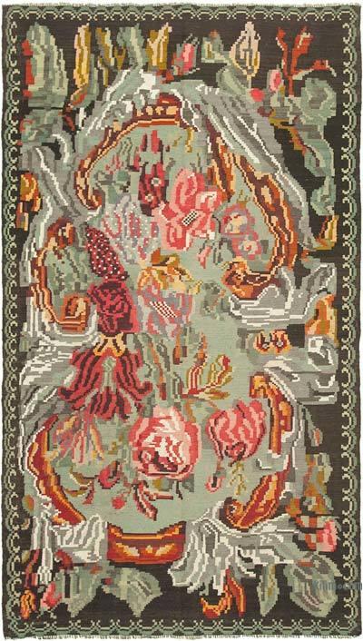 "Vintage Handwoven Moldovan Kilim Area Rug - 6' 2"" x 10' 9"" (74 in. x 129 in.)"
