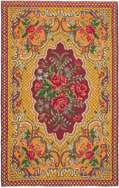 "Vintage Handwoven Moldovan Kilim Area Rug - 6' 2"" x 9' 7"" (74 in. x 115 in.)"