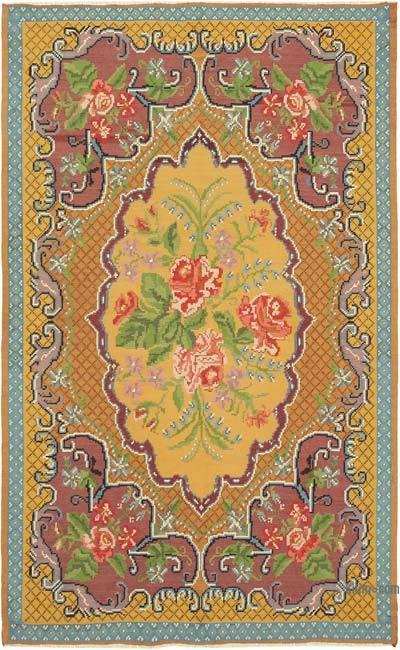 """Multicolor Vintage Handwoven Moldovan Kilim Area Rug - 6' 4"""" x 10' 2"""" (76 in. x 122 in.)"""