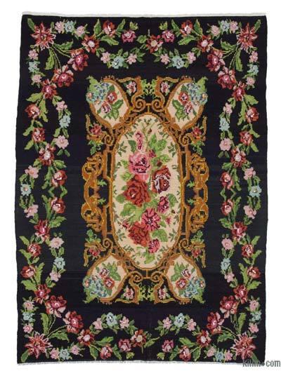 "Vintage Handwoven Moldovan Kilim Area Rug - 6' 9"" x 10'  (81 in. x 120 in.)"