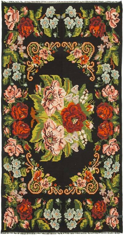 "Vintage Handwoven Moldovan Kilim Area Rug - 5' 9"" x 10' 6"" (69 in. x 126 in.)"
