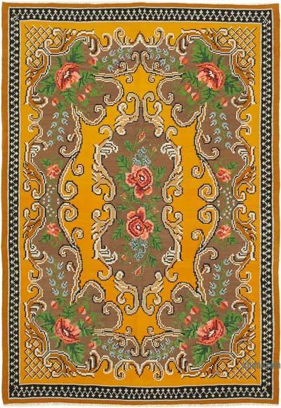 "Vintage Handwoven Moldovan Kilim Area Rug - 6' 1"" x 8' 10"" (73 in. x 106 in.)"